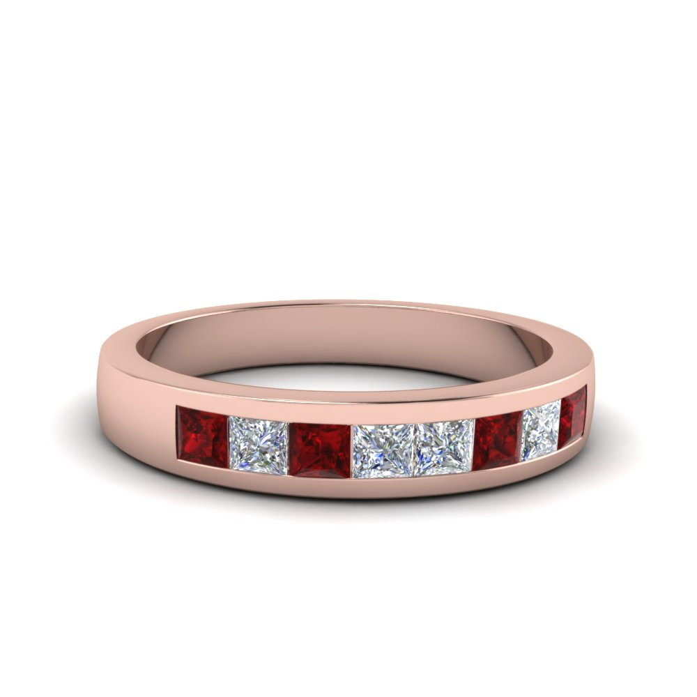 Channel Set Diamond Wedding Band For Most Popular Diamond Channel Set Anniversary Bands In Rose Gold (View 8 of 25)