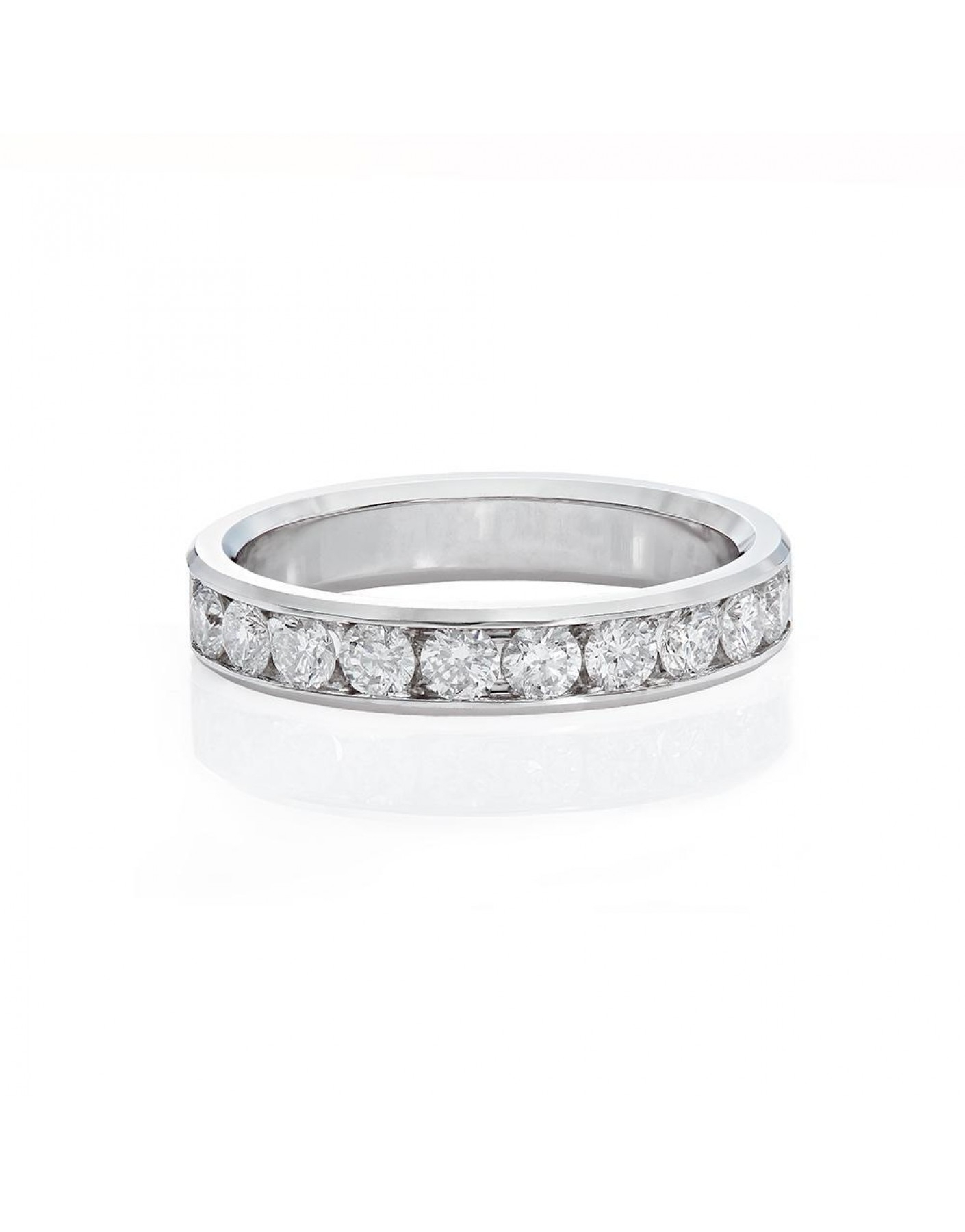 Channel Set Diamond Wedding Band In 18K White Gold (3/4 Ct. Tw (View 11 of 25)