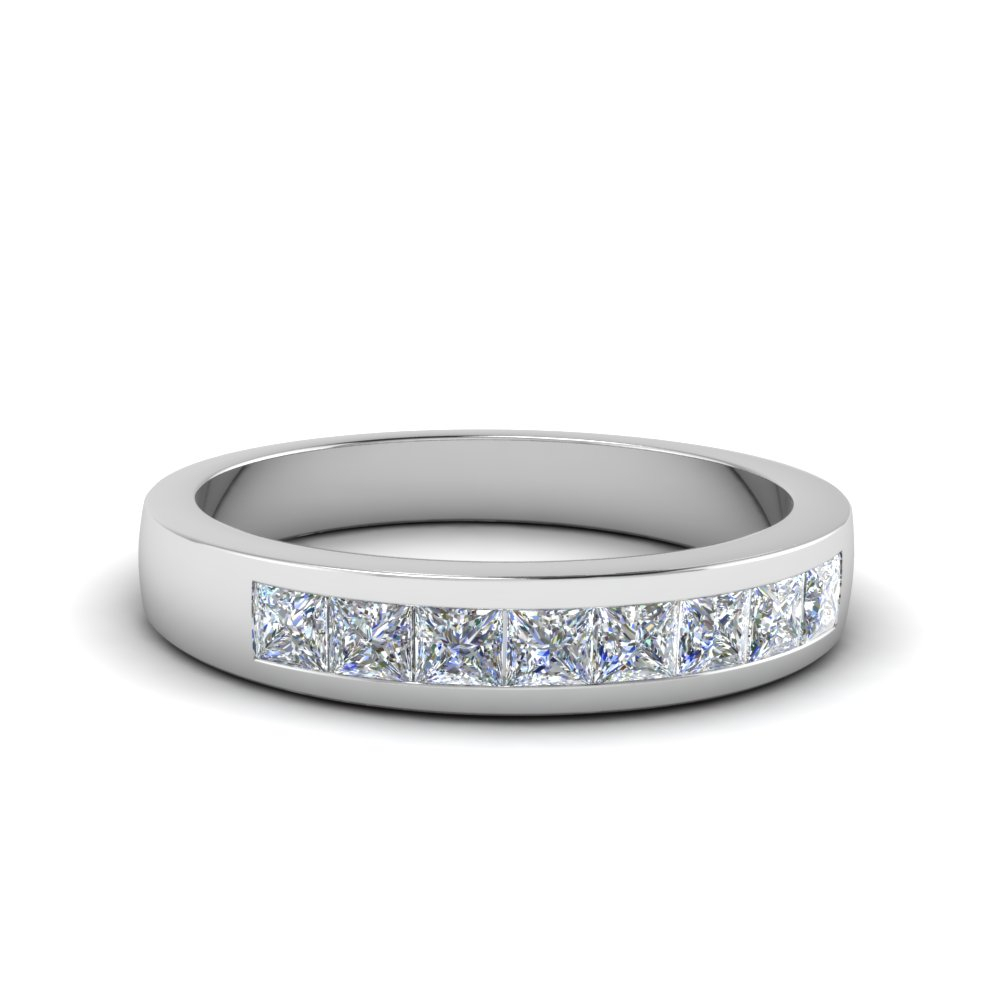 Channel Set Diamond Wedding Band With Newest Princess Cut Diamond Anniversary Bands In Gold (View 7 of 25)
