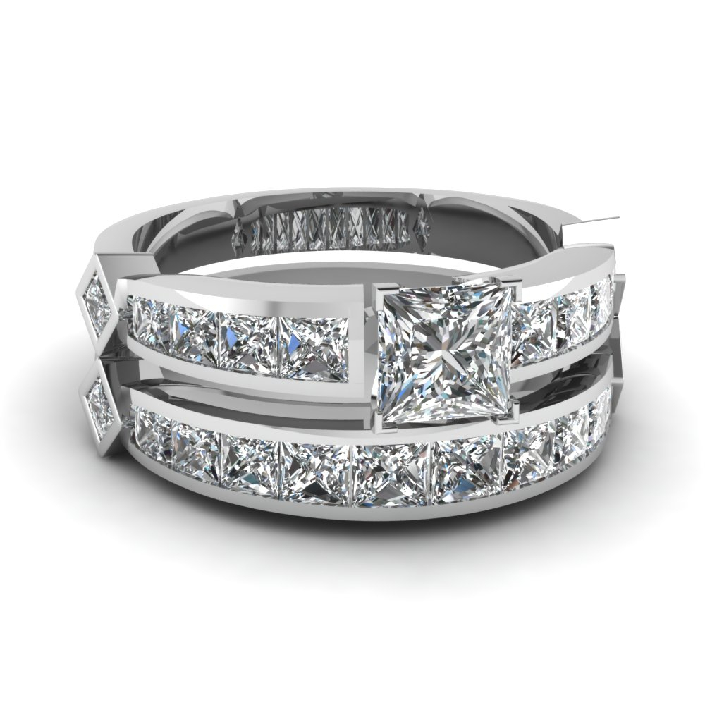 Channel Set Princess Accent Diamond Ring Set Regarding Latest Princess Cut Diamond Three Stone Anniversary Bands In White Gold (View 11 of 25)