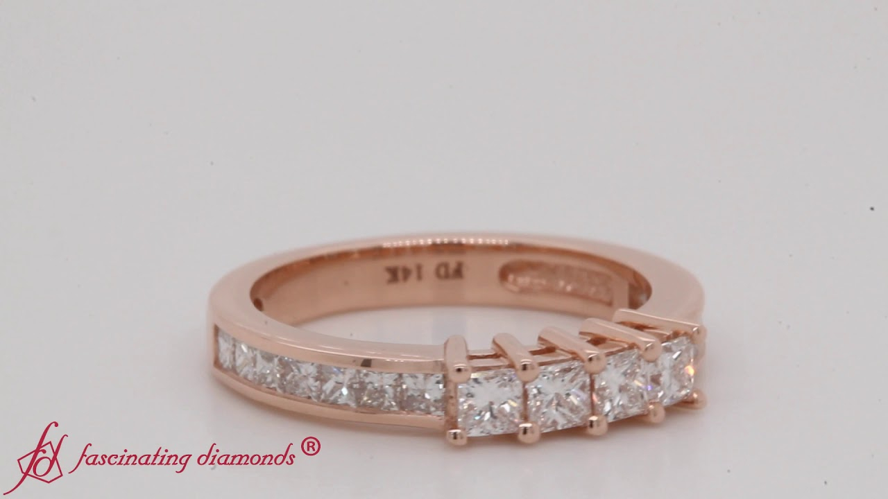 Channel Set Princess Cut Diamond Anniversary Band In Rose Gold Fdens3022B With Regard To Current Diamond Channel Set Anniversary Bands In Rose Gold (Gallery 21 of 25)