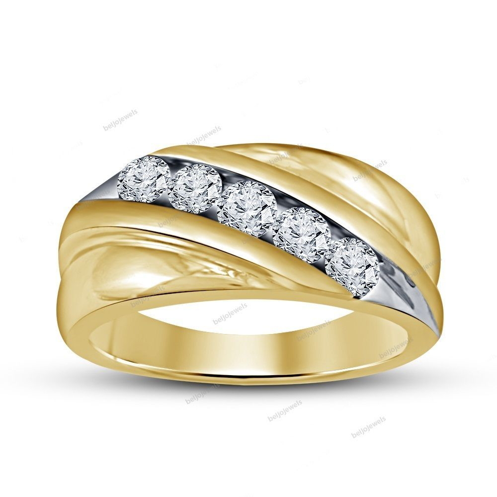 Channel Set Round Simulated Diamond Men's Band Ring Slant For Current Diamond Slant Anniversary Bands In White Gold (View 6 of 25)