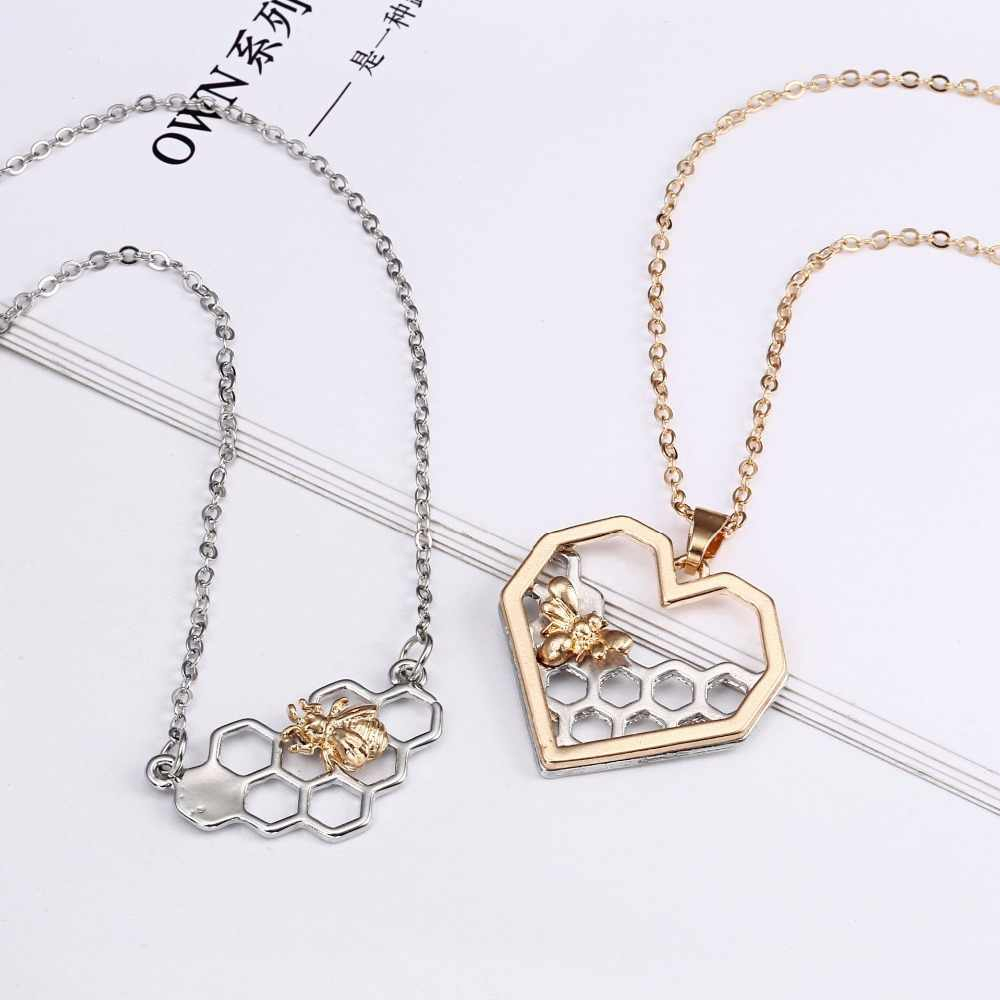 Charm Fashion Silver Necklaces For Women Girl Heart Honeycomb Bee Animal  Pendant Choker Necklace Jewelry Party Prom Gift Throughout Recent Heart Honeycomb Lace Pendant Necklaces (View 6 of 25)