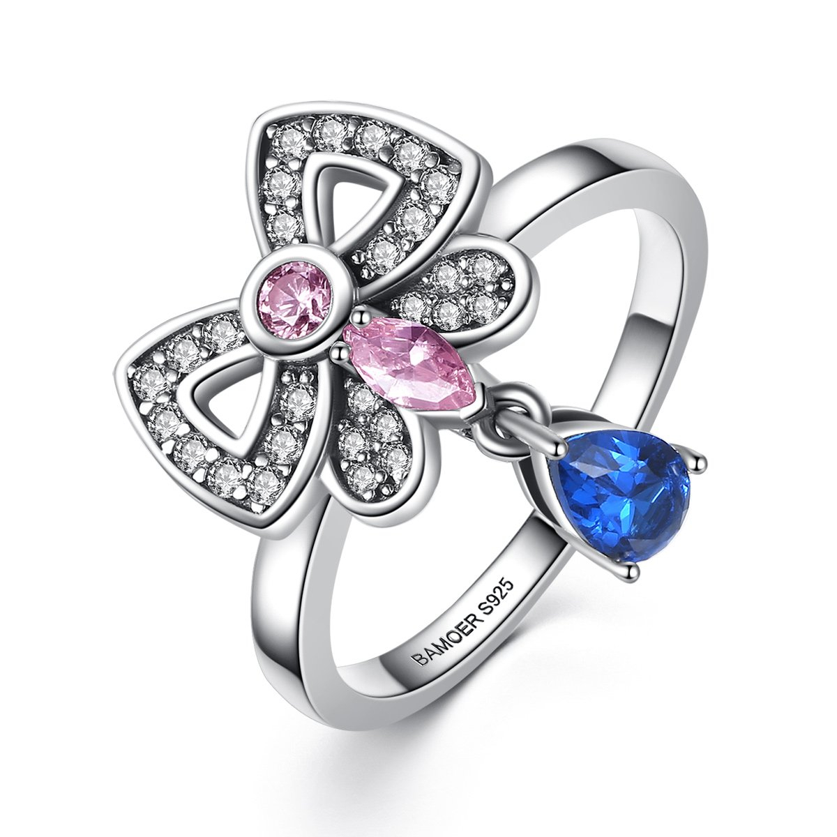 Charming Sparkling Pink & Blue Butterfly Ring Sale Clearance Regarding 2017 Sparkling Butterfly Rings (View 16 of 25)