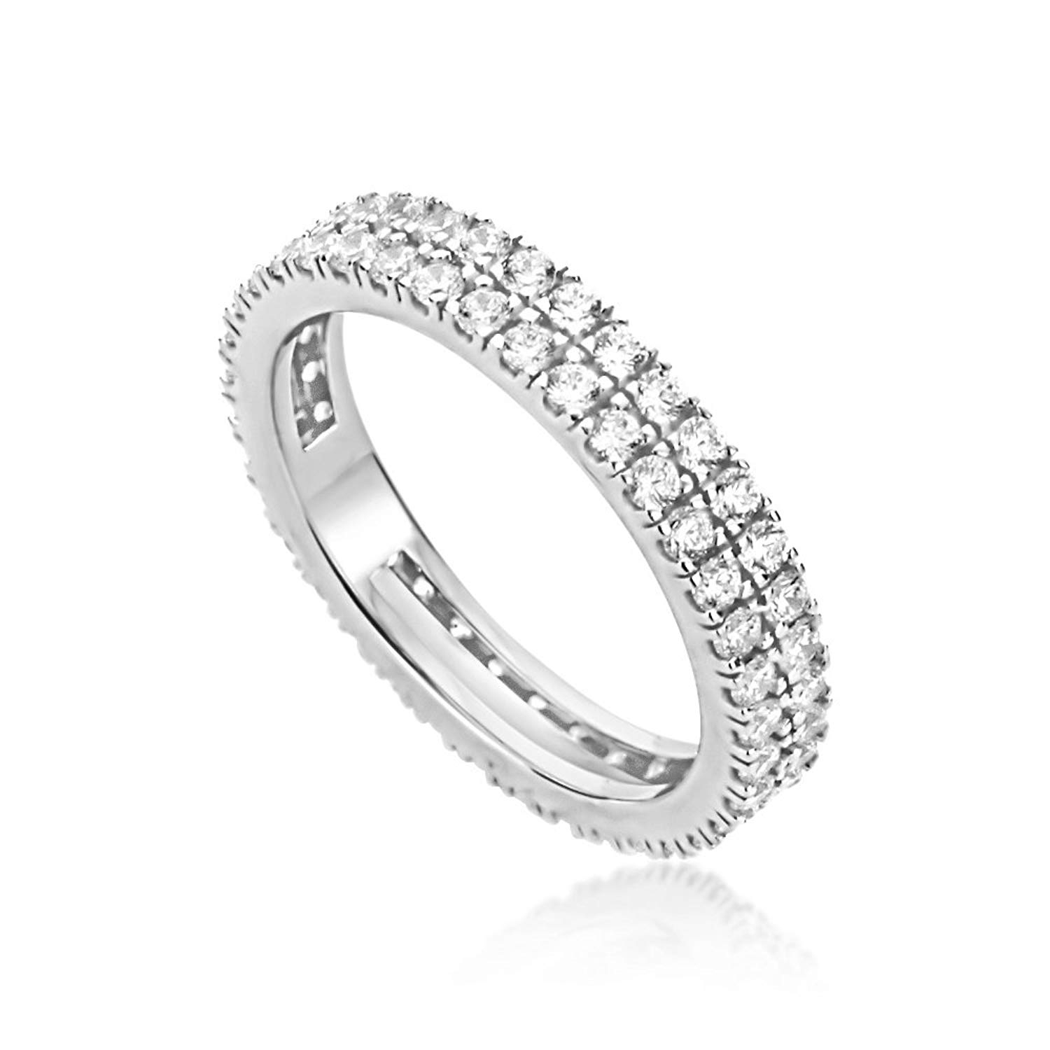 Cheap 3 Row Eternity Ring, Find 3 Row Eternity Ring Deals On Within Current Diamond Two Row Anniversary Bands In Sterling Silver (Gallery 11 of 25)