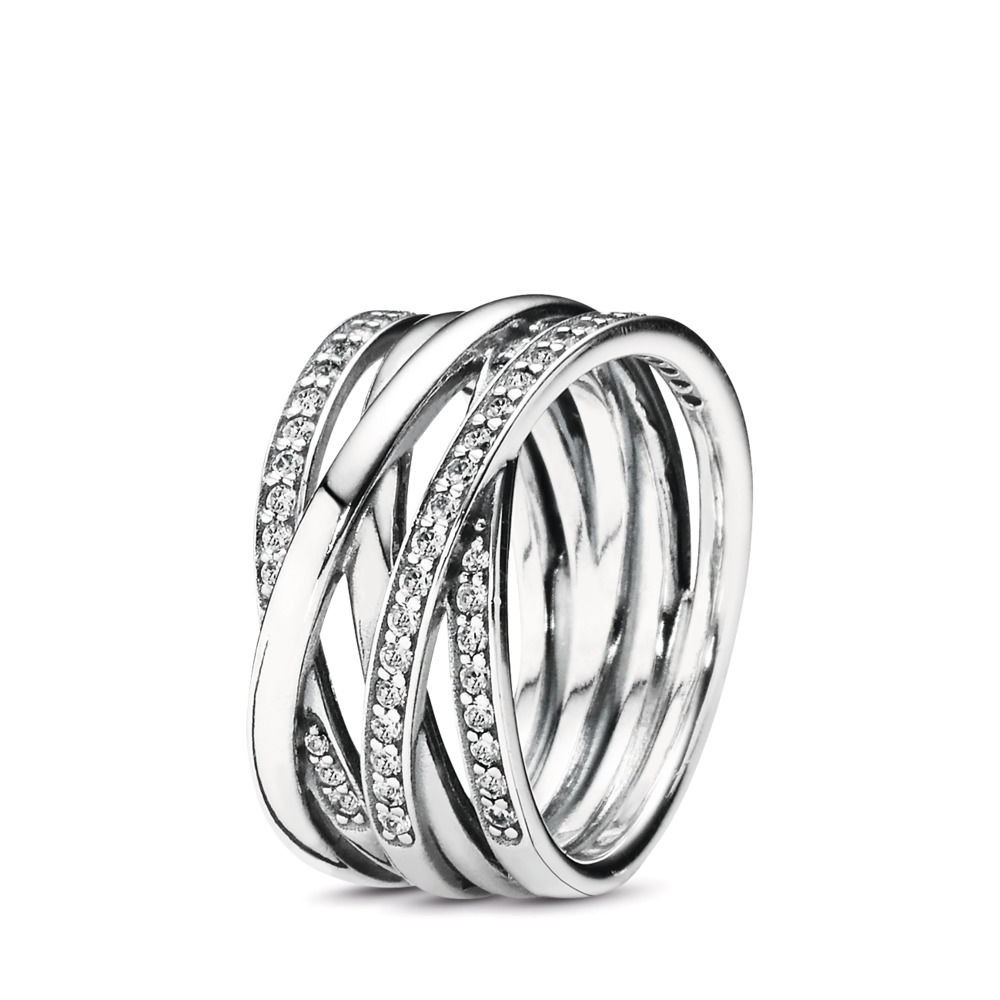 Cheap Pandora Entwining Silver Rings Sterling Silver, Cubic Zirconia Pertaining To Latest Entwined Circles Pandora Logo & Sparkle Rings (View 17 of 25)
