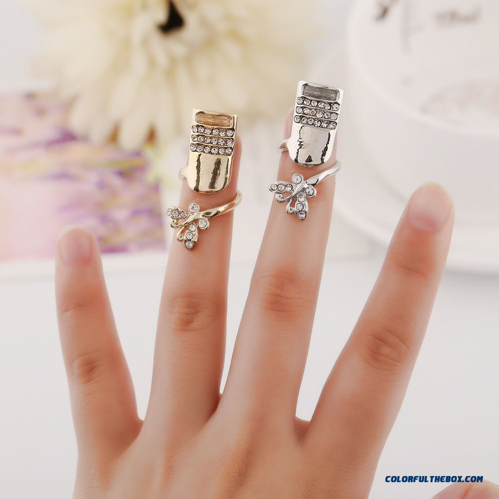 Cheap Pretty Stylish New Flash Diamond Butterfly Nails Ring Jewelry With Latest Sparkling Butterfly Open Rings (Gallery 15 of 25)
