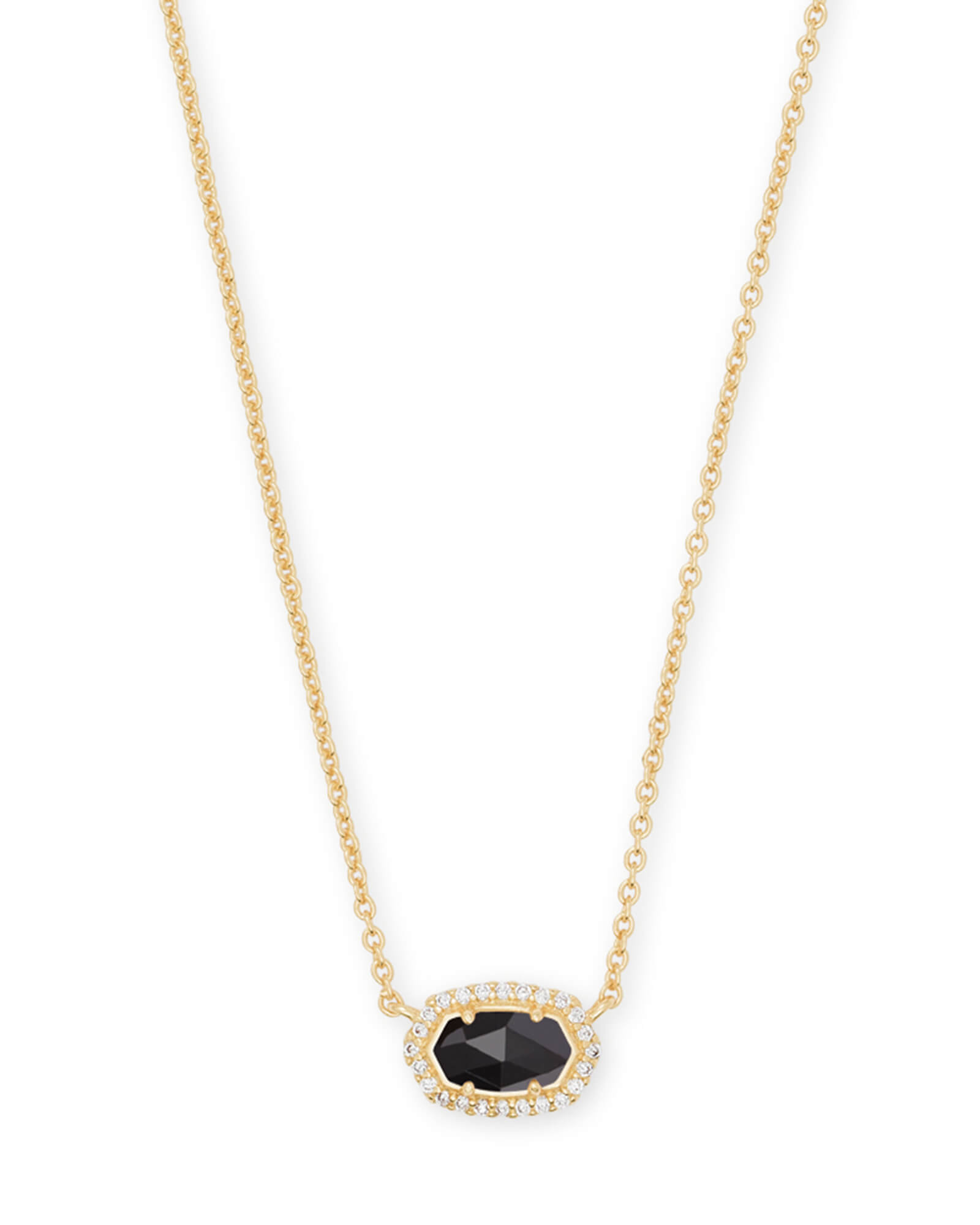 Chelsea Gold Pendant Necklace In Black Glass | Kendra Scott Throughout Most Current Oval Sparkle Halo Pendant Necklaces (View 3 of 25)