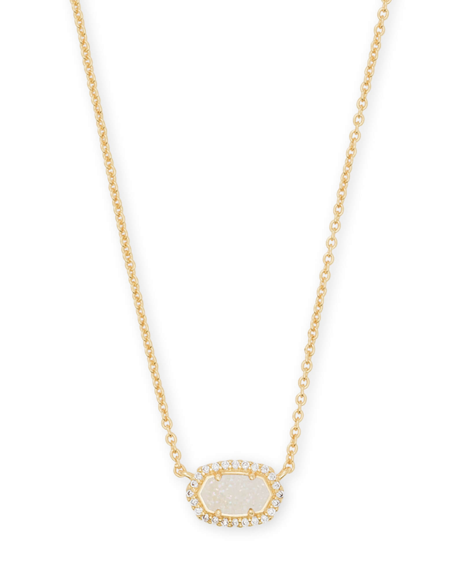 Chelsea Gold Pendant Necklace In Iridescent Drusy | Kendra Scott Inside 2020 Square Sparkle Halo Pendant Necklaces (View 7 of 25)