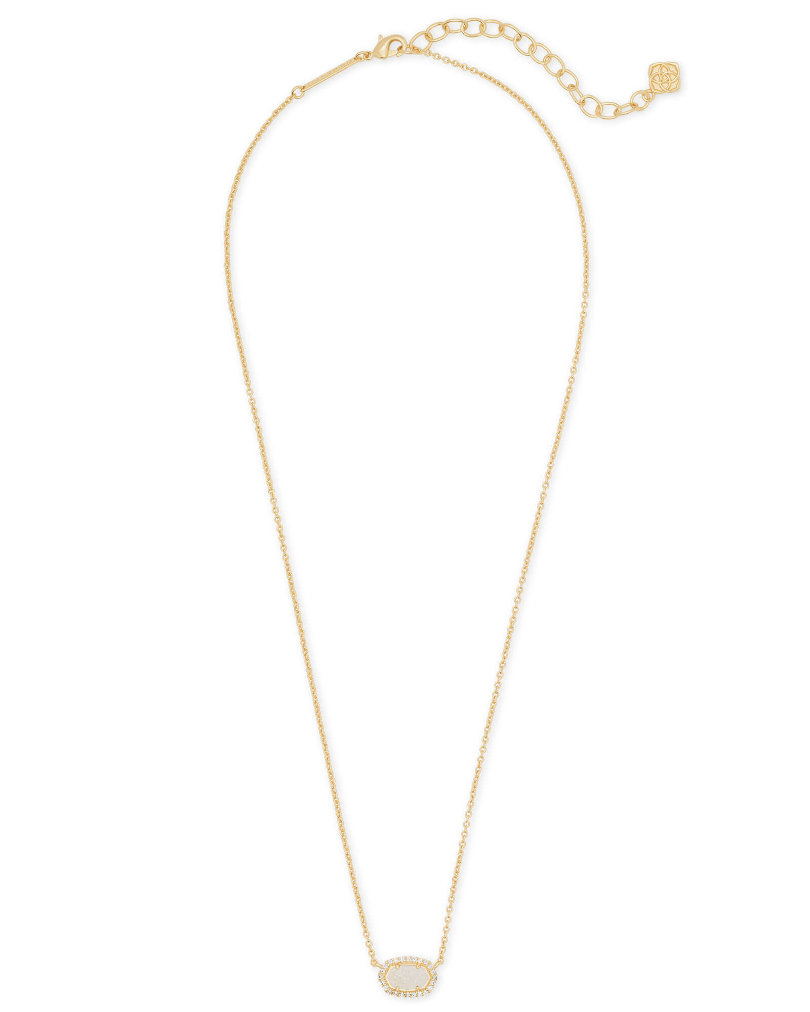 Chelsea Gold Pendant Necklace In Iridescent Drusy | Kendra Scott With Most Popular Square Sparkle Halo Pendant Necklaces (Gallery 25 of 25)