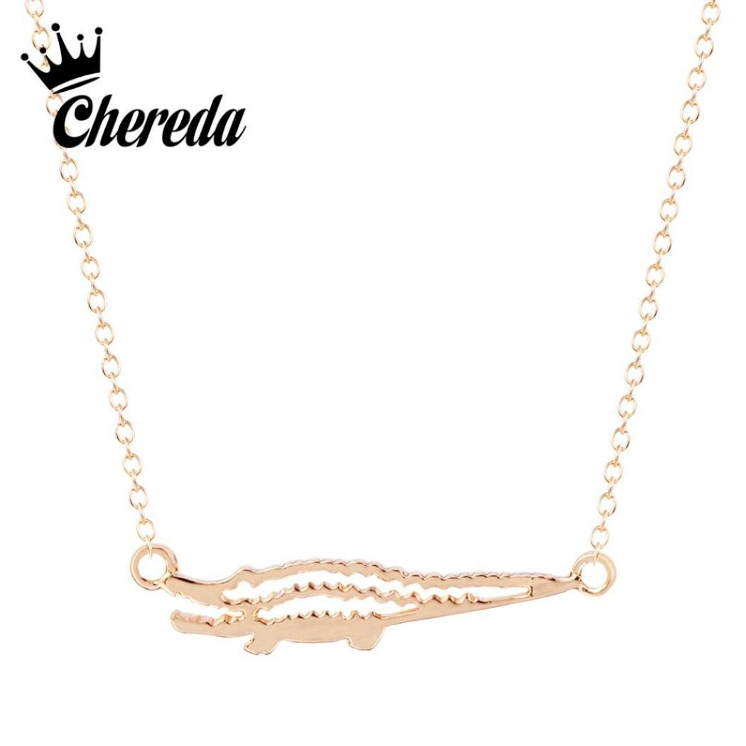 Chereda Cute Crocodile Shape Necklace&pendant Simple Punk Necklaces For  Women Lovely Animal Necklace Collares Femme Bijoux Throughout Best And Newest Tiara Crown Collier Necklaces (Gallery 24 of 25)