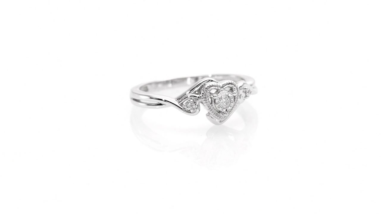 Cherished Promise Collection™ Diamond Accent Vintage Style Heart Promise Ring In 10k White Gold Throughout Most Recently Released Diamond Accent Vintage Style Anniversary Bands In White Gold (View 15 of 25)