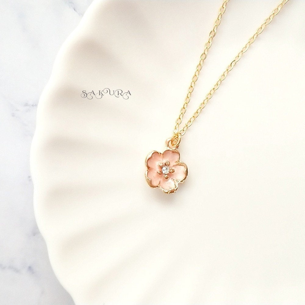 Cherry Blossom, Pink, Japan Spring, Necklace, Gold, Charm, Japanese, Within Most Recent Pink Cherry Blossom Flower Locket Element Necklaces (View 2 of 25)
