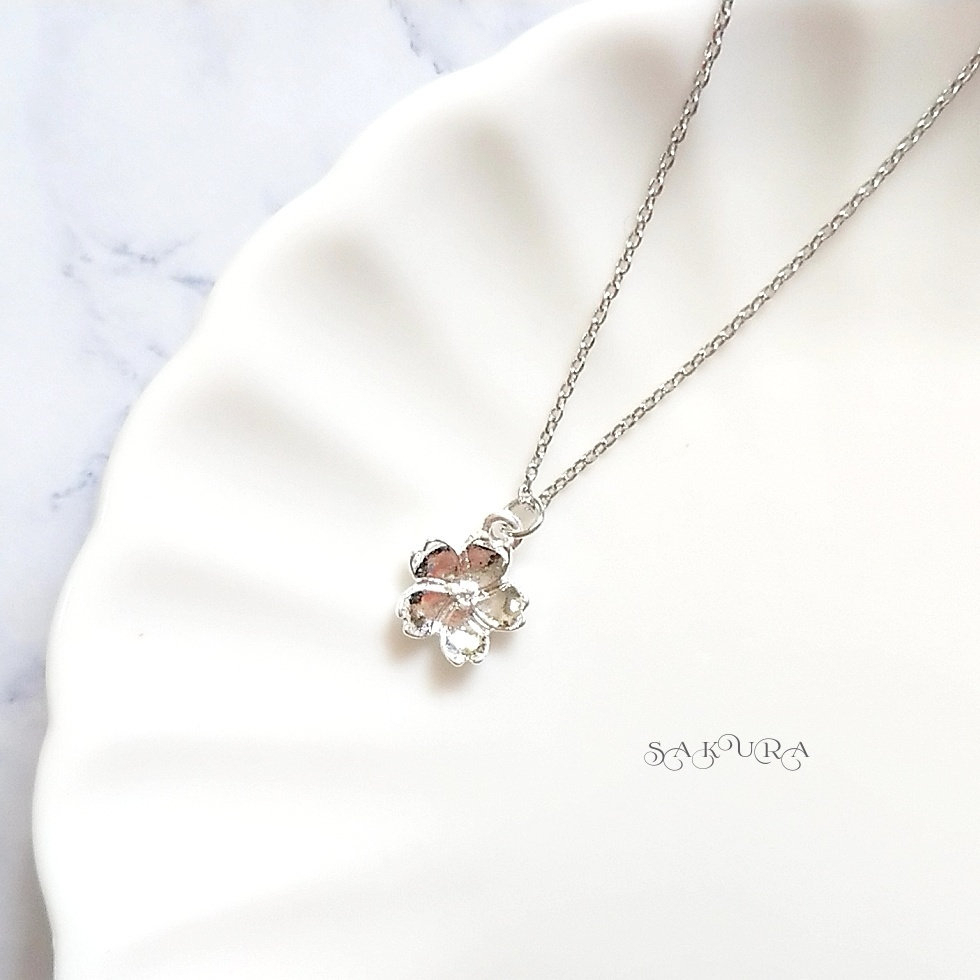 Cherry Blossom, Silver, Japan Spring, Necklace, Charm, Japanese,simple,  Cute, Gorgeous, Regarding Most Current Pink Cherry Blossom Flower Locket Element Necklaces (View 8 of 25)