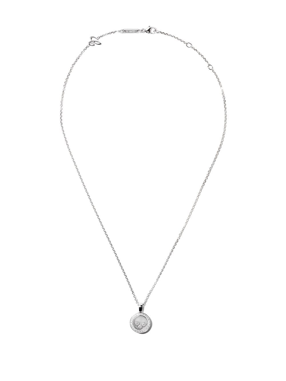 Chopard 18kt White Gold Happy Diamond Icons Pendant Necklace Pertaining To Most Recent Sparkling Ice Cube Circle Pendant Necklaces (View 13 of 25)