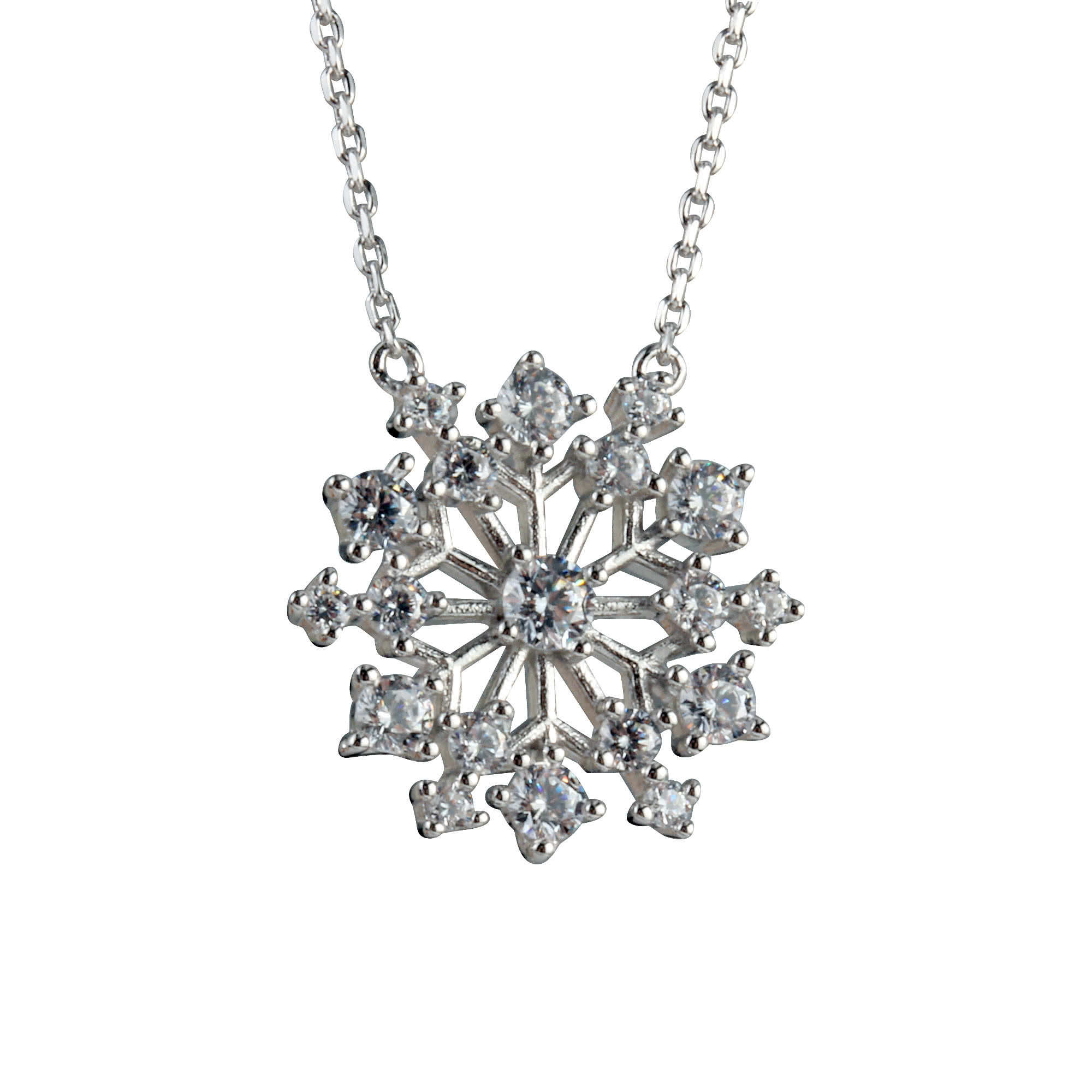Christmas Snowflake Sterling Silver Necklace Within 2020 Sparkling Square Halo Pendant Necklaces (Gallery 15 of 25)