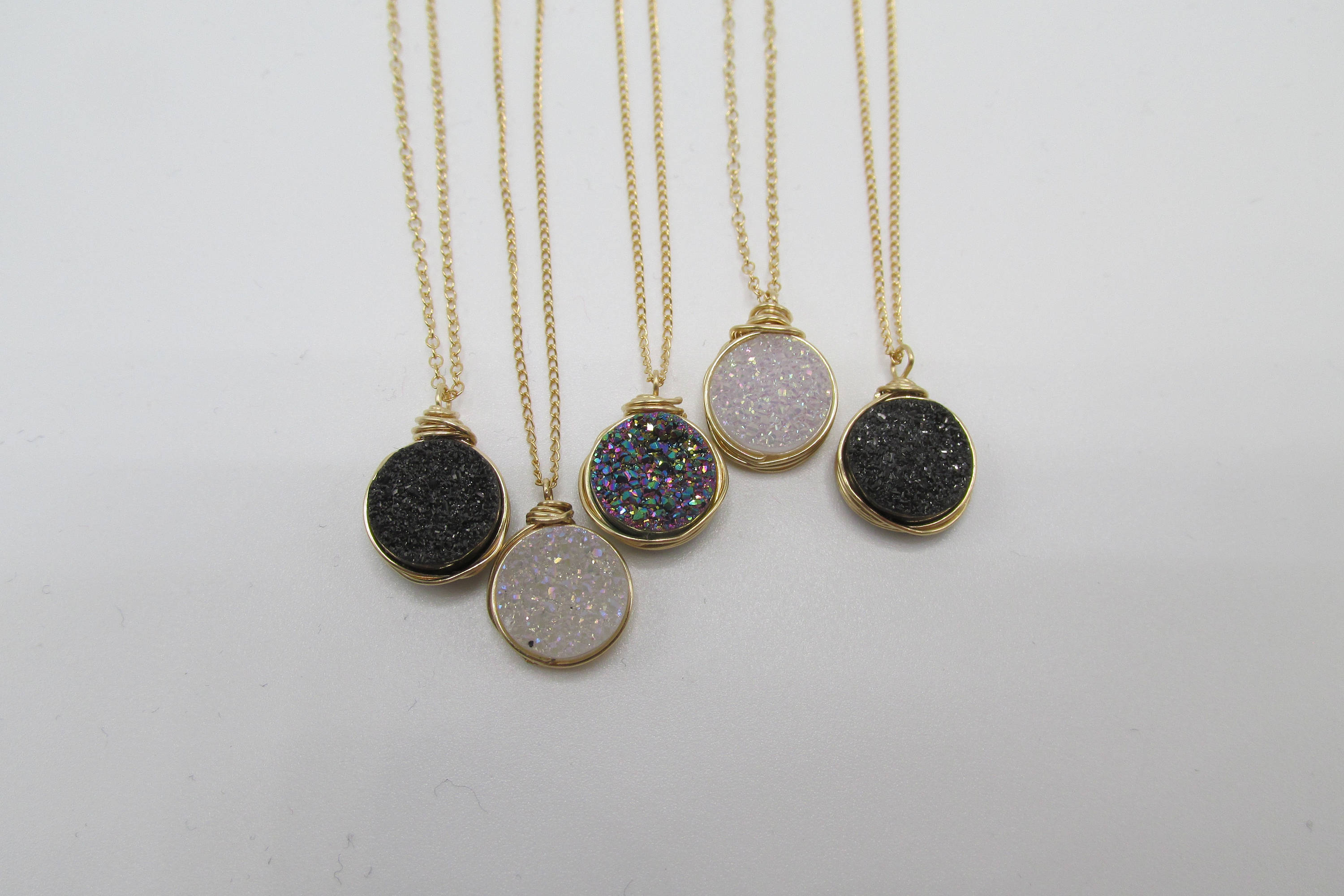 Circle Druzy Pendant  Sparkly Crystal, Small Druzy Pendant, Wire Wrapped  Druzy Necklace,small Druzy Necklace Pertaining To Current Circle Of Sparkle Necklaces (Gallery 12 of 25)