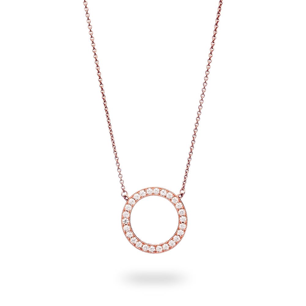 Circle Of Sparkle Necklace, 14k Rose Gold Plated Unique Metal Ble Intended For Newest Circle Of Sparkle Necklaces (View 5 of 25)
