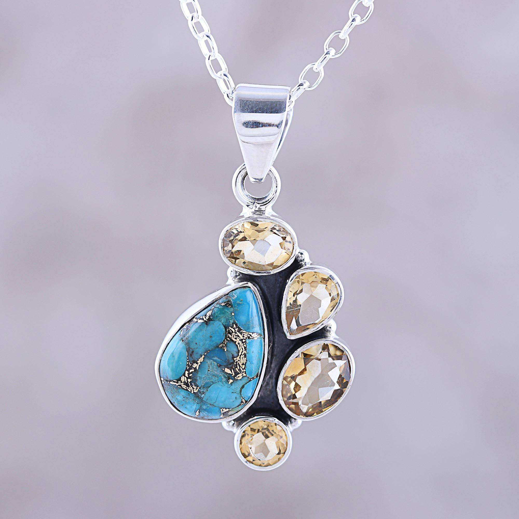 Citrine And Composite Turquoise Pendant Necklace From India, 'golden Fusion' For Most Up To Date Sparkling Teardrop Chandelier Pendant Necklaces (Gallery 23 of 25)