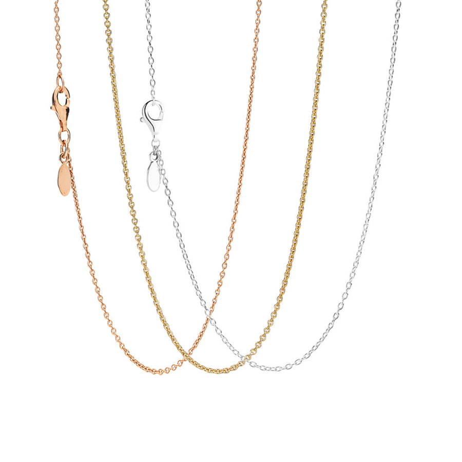 Classic 100% Authentic 925 Silver  Gold&rose Gold Anchor Chain Necklace  50Cm Fit Original Pandora Necklace Pendant Diy Jewelry Throughout Newest Classic Anchor Chain Necklaces (Gallery 1 of 25)