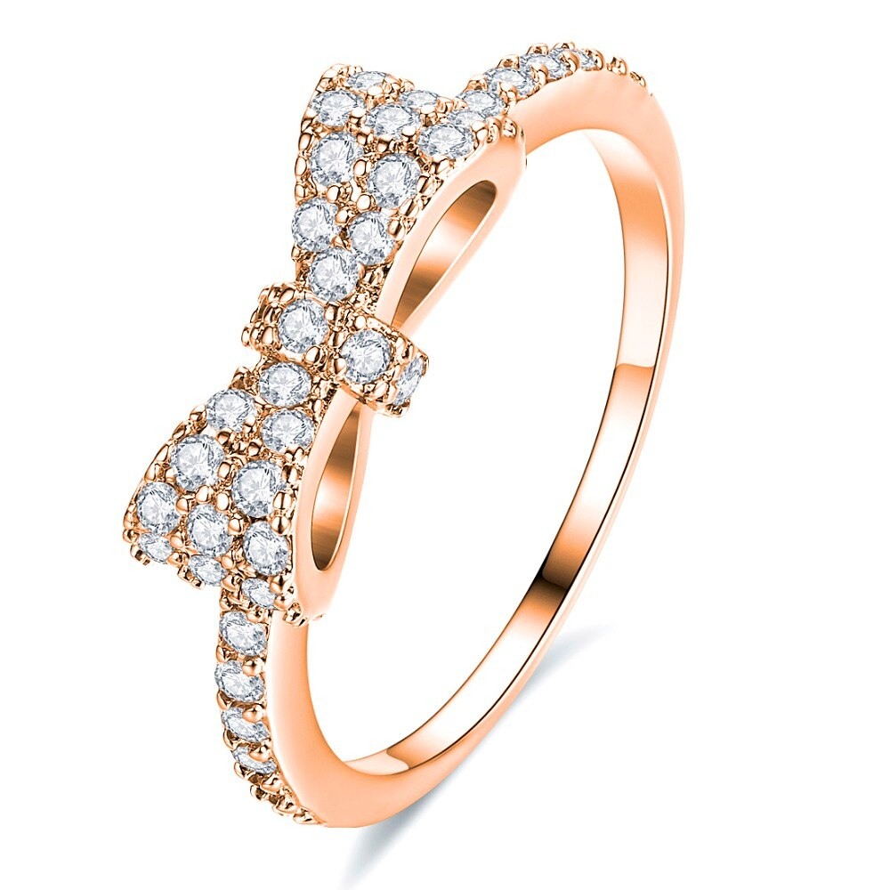 Classic Bow Knot Stackable Rings Gold Rose Silver Color Tie Wedding Band Rings Paved Aaa Cz Crystal Bow Shape Jewelry Women Ring In Rings From Jewelry In Most Popular Classic Bow Rings (View 8 of 25)