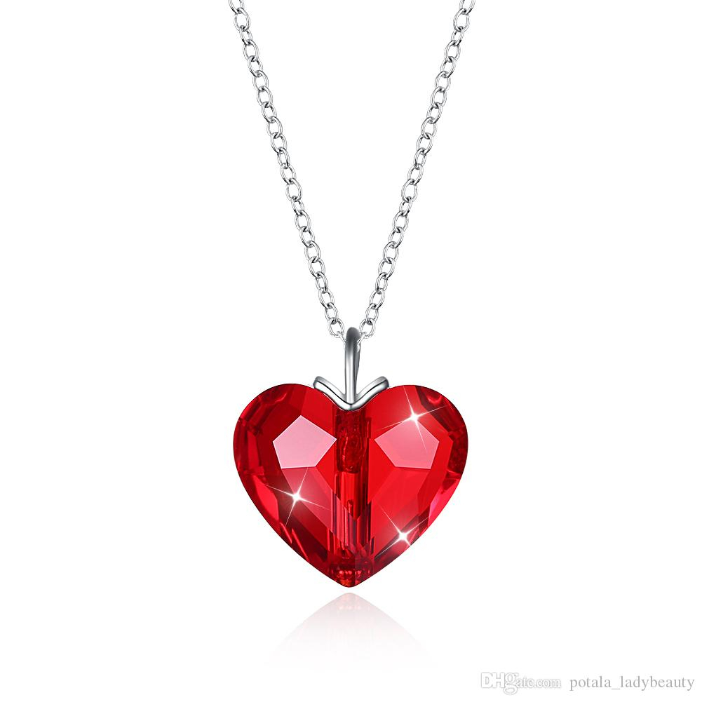 Classic Pendant Necklaces Crystal From Swarovski Elements S925 Sterling Silver Love Heart Romantic Necklace Valentine S Day Gifts Potala328 Intended For Current Classic Flower Locket Element Necklaces (View 11 of 25)