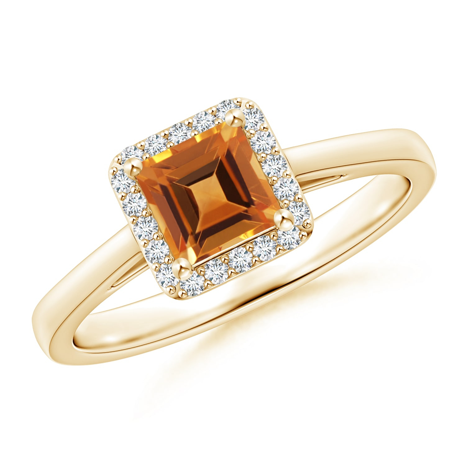 Classic Square Citrine Halo Ring In Current Square Sparkle Halo Rings (Gallery 8 of 25)