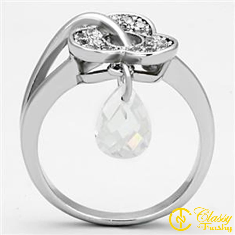 Classy Not Trashy Size 5 Three Leaf Clover Ring With Clear Pear Cut Cz  Dangle Charm Throughout Best And Newest Dangling Four Leaf Clover Rings (View 7 of 25)