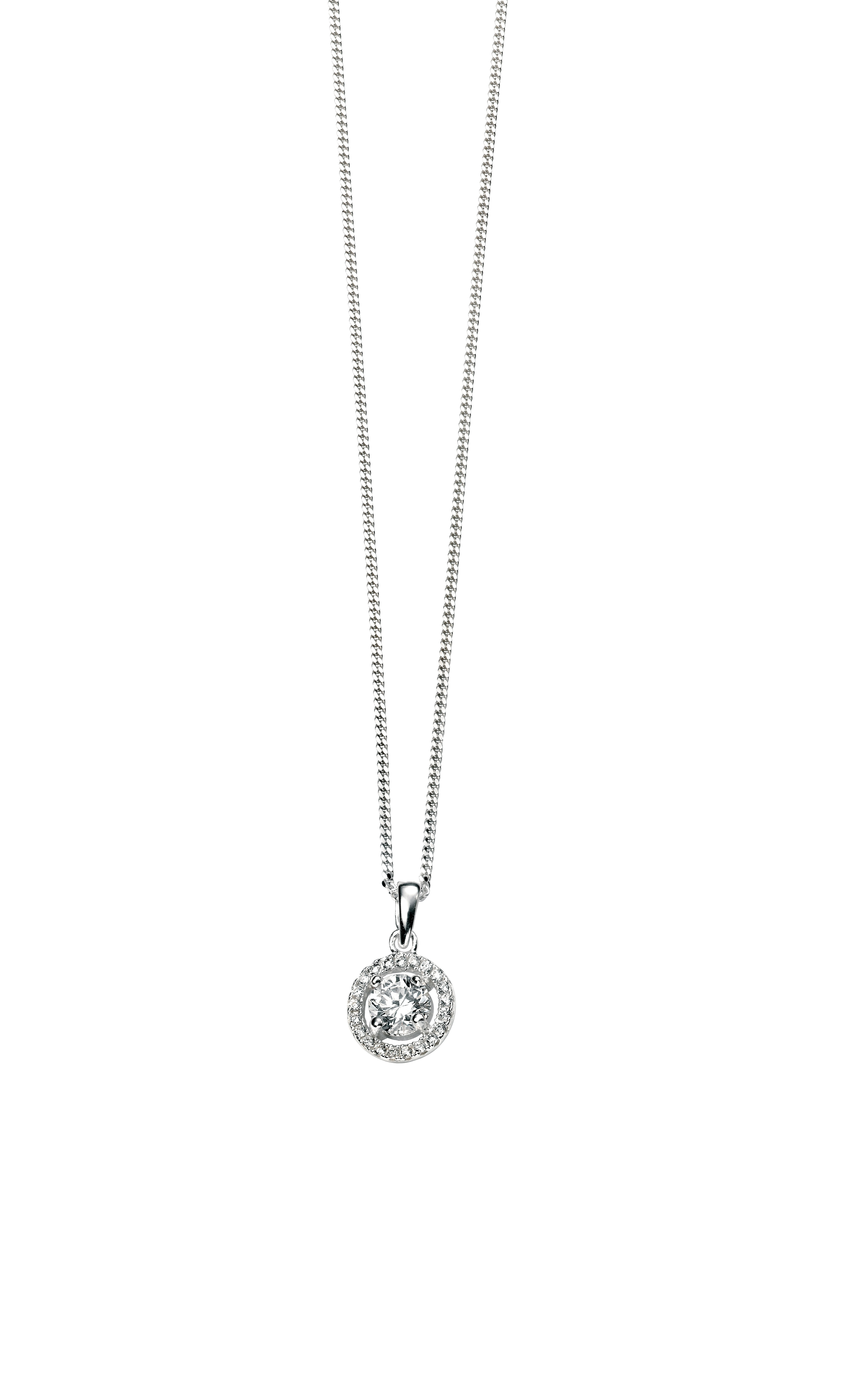 Clear Cz Round Pave Pendant With Curb With Extender 41+5cm Silver Intended For Most Popular Pavé Locket Element Necklaces (View 5 of 25)
