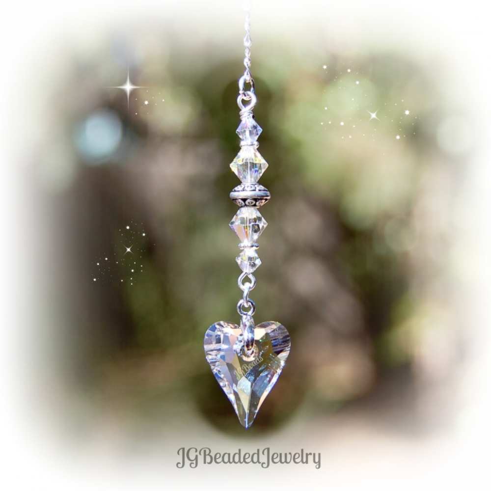 Clear Swarovski Crystal Heart Suncatcher With Regard To 2018 Clear Heart Beaded Rings (View 4 of 25)