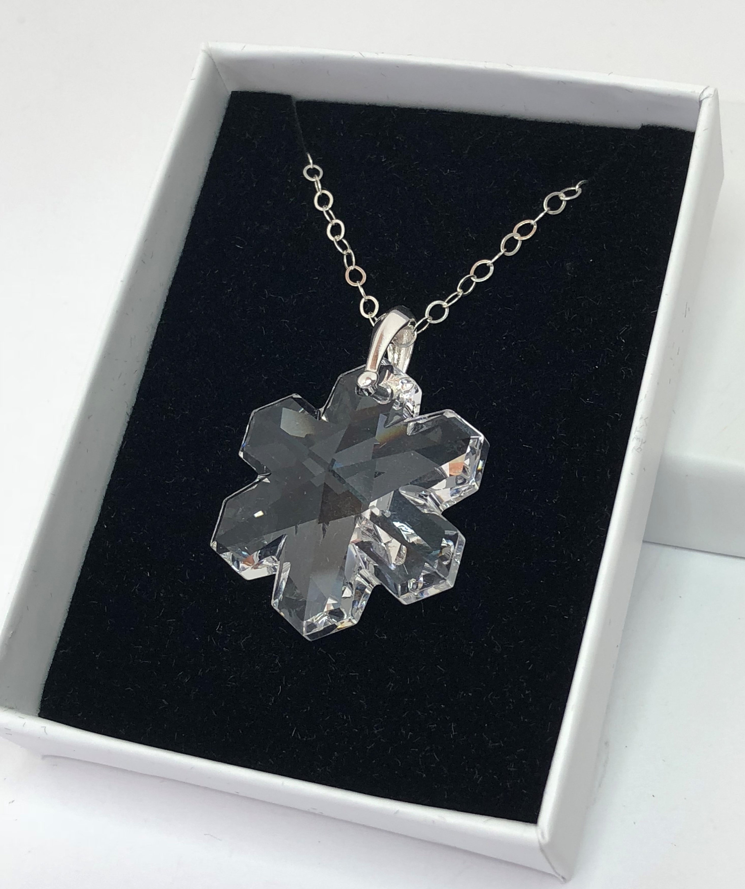 Clear Swarovski Snowflake Crystal Pendant, 925 Sterling Silver, Large 30Mm Crystal Snowflake, Pretty Gift For Her, Statement Necklace Throughout Recent Shimmering Snowflake Locket Element Necklaces (View 3 of 25)