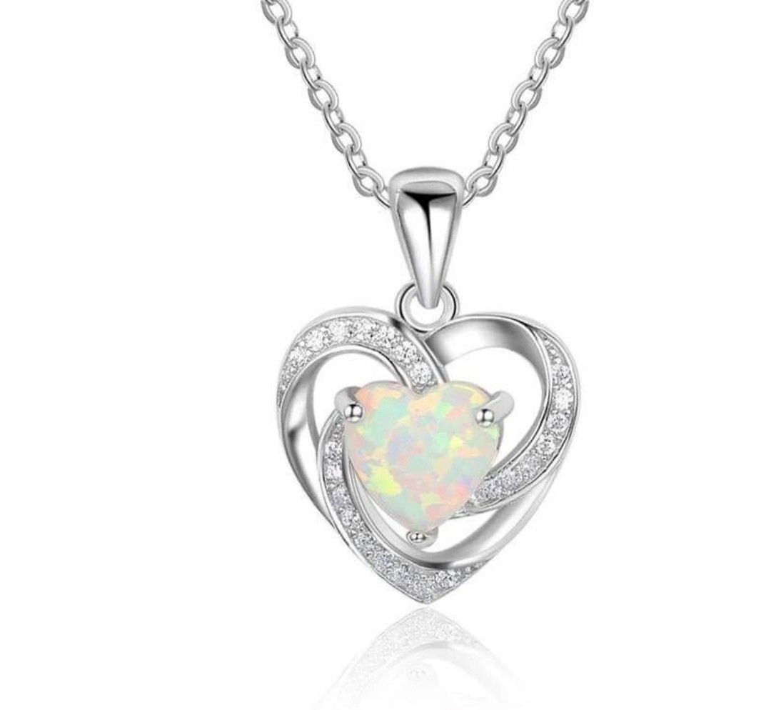 (Clearance Sales) Swarovski Elements Crystal Opal Rainbow Heart Necklace In Most Up To Date Heart Padlock Locket Element Necklaces (View 1 of 25)