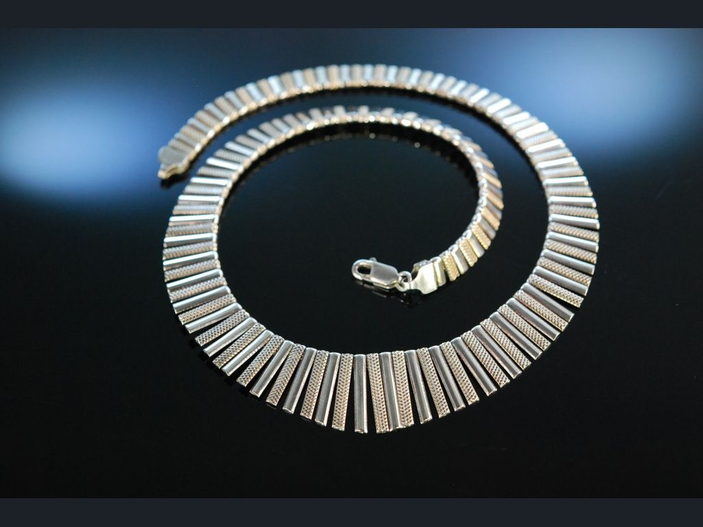 Cleopatra Collier! Stylish Vintage Silver Necklace! Sixties Kette Throughout Recent Vintage Circle Collier Necklaces (View 7 of 25)