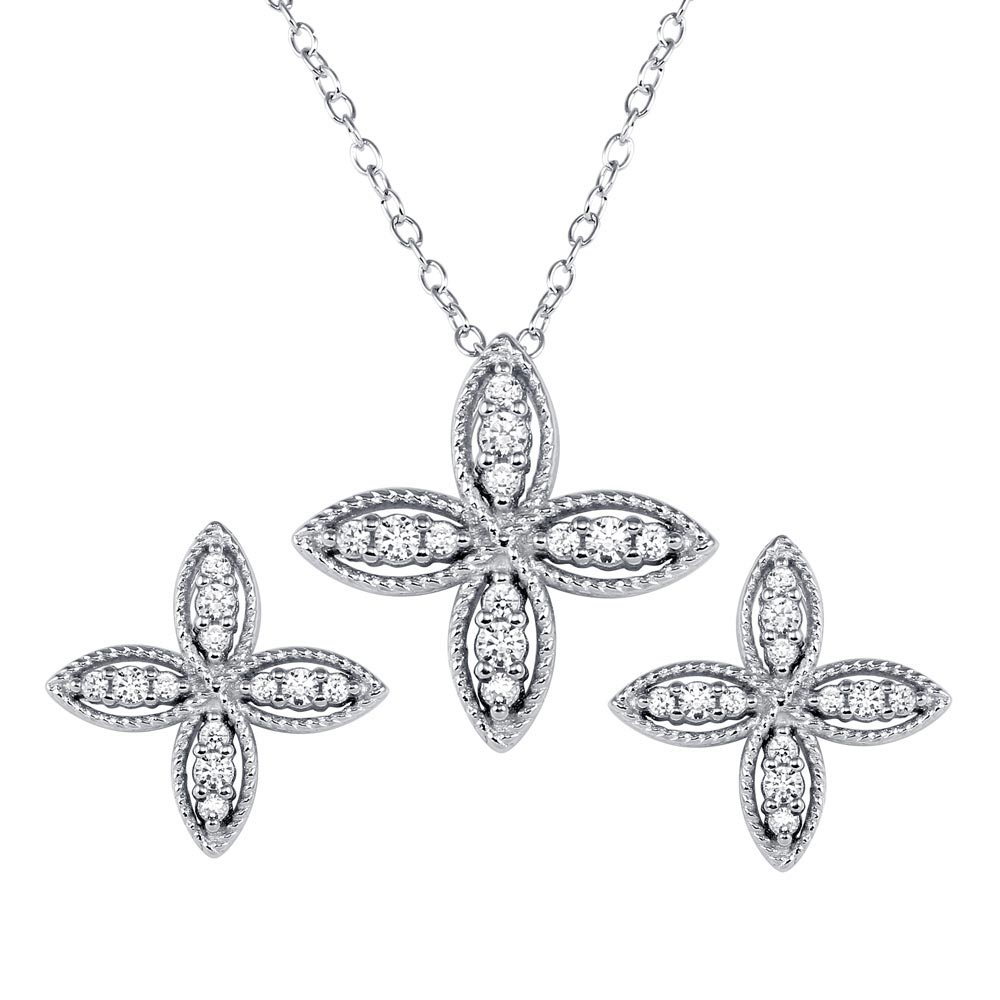 Closeout** Wholesale Sterling Silver 925 Four Petal Flower Necklace Within Best And Newest Four Petal Flower Necklaces (View 15 of 25)