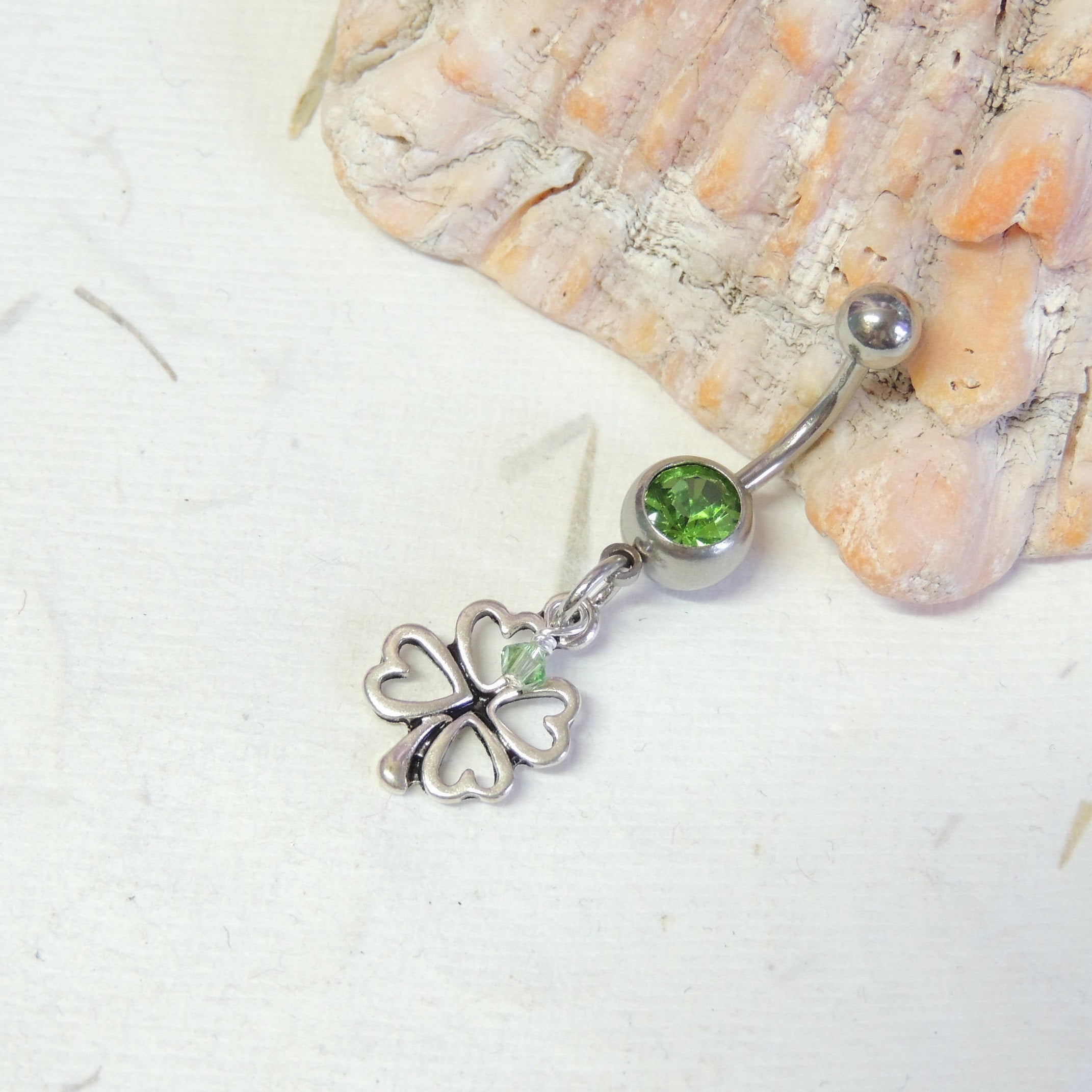 Clover Belly Button Ring You Choose Color, Belly Button Jewelry, Lucky Four  Leaf Clover Belly Ring, Irish St (View 8 of 25)