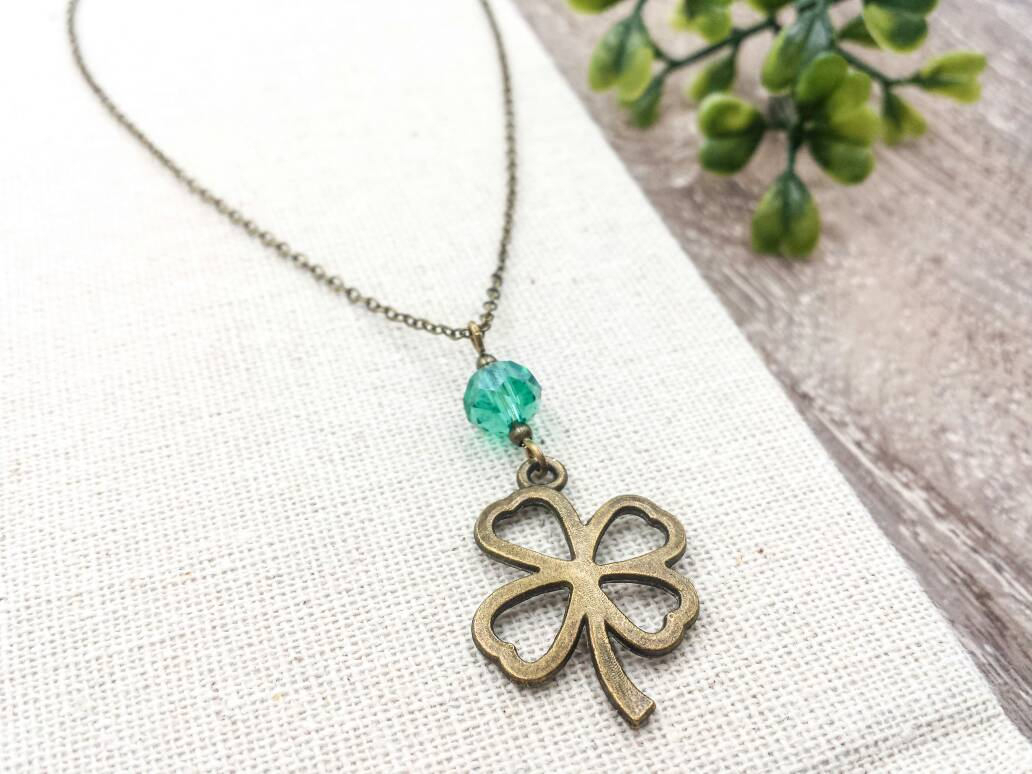 Clover Necklace, Four Leaf Lucky Clover Necklace, Czech Bead Clover Pendant  Charm Necklace, Friendship, Sister, Wedding, Gift For Her Inside Most Up To Date Lucky Four Leaf Clover Dangle Charm Necklaces (View 6 of 25)