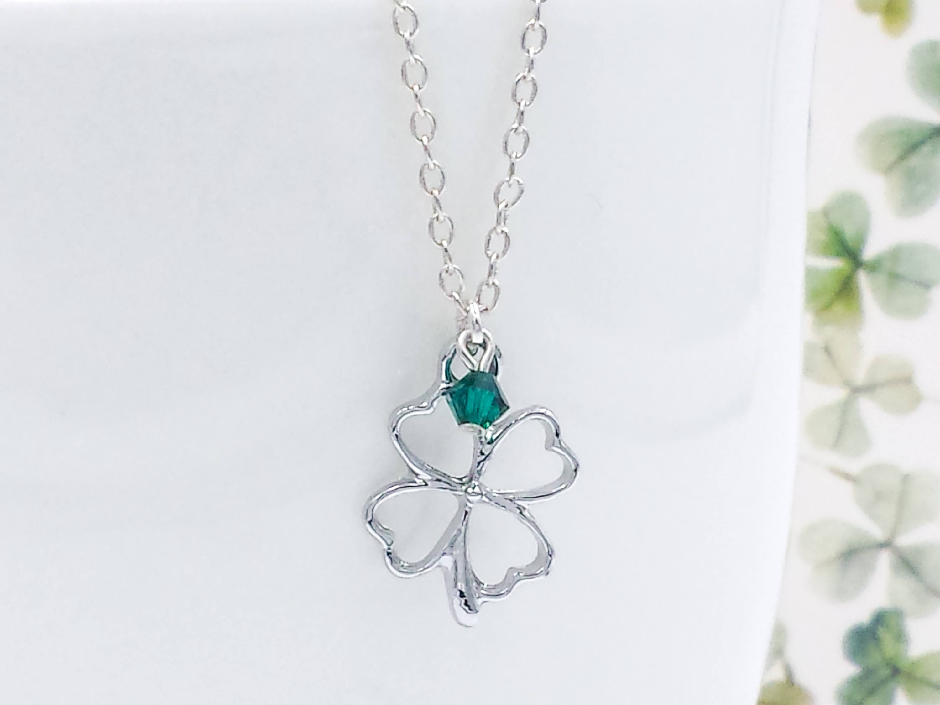 Clover Necklace, Silver Four Leaf Lucky Clover Necklace, Birthstone  Shamrock Pendant Charm, Friendship, Sister, Wedding, Gift For Her For Newest Lucky Four Leaf Clover Dangle Charm Necklaces (View 7 of 25)