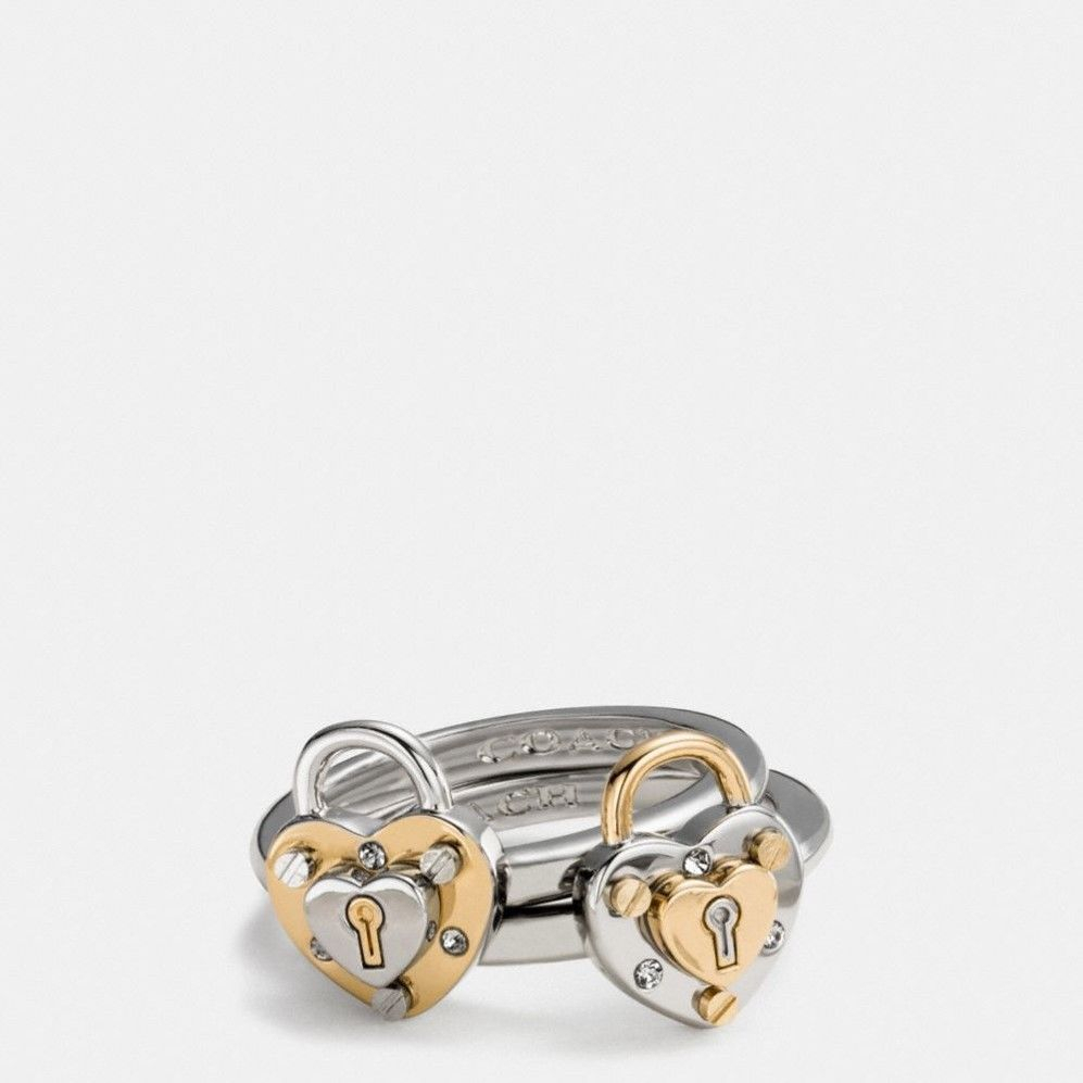 Coach Padlock Heart Ring Set Gold Size 7 F90951 Nwt W/ Dust Bag In Latest Heart Shaped Padlock Rings (View 18 of 25)