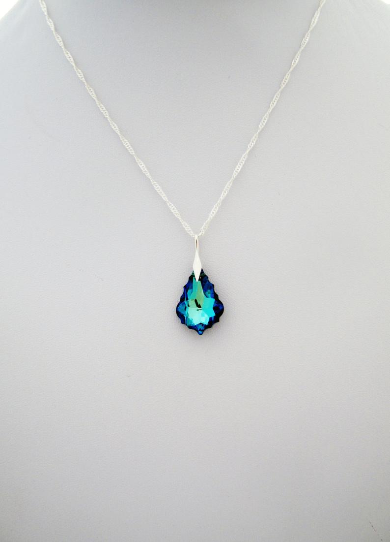 Cobalt Blue Necklace Swarovski Crystal Chandelier Pendant, Bridal Necklace, Deep Blue Necklace On Sterling Silver 925 Regarding Best And Newest Sparkling Teardrop Chandelier Pendant Necklaces (View 5 of 25)