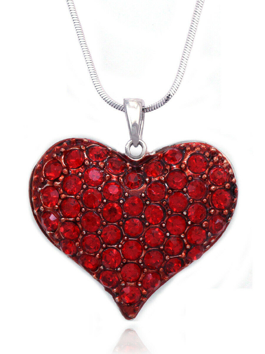 Cocojewelry Small Heart Crystal Pave Pendant Necklace Valentine's Day  Jewelry In Newest Pavé Angel Wing Locket Element Necklaces (View 8 of 25)