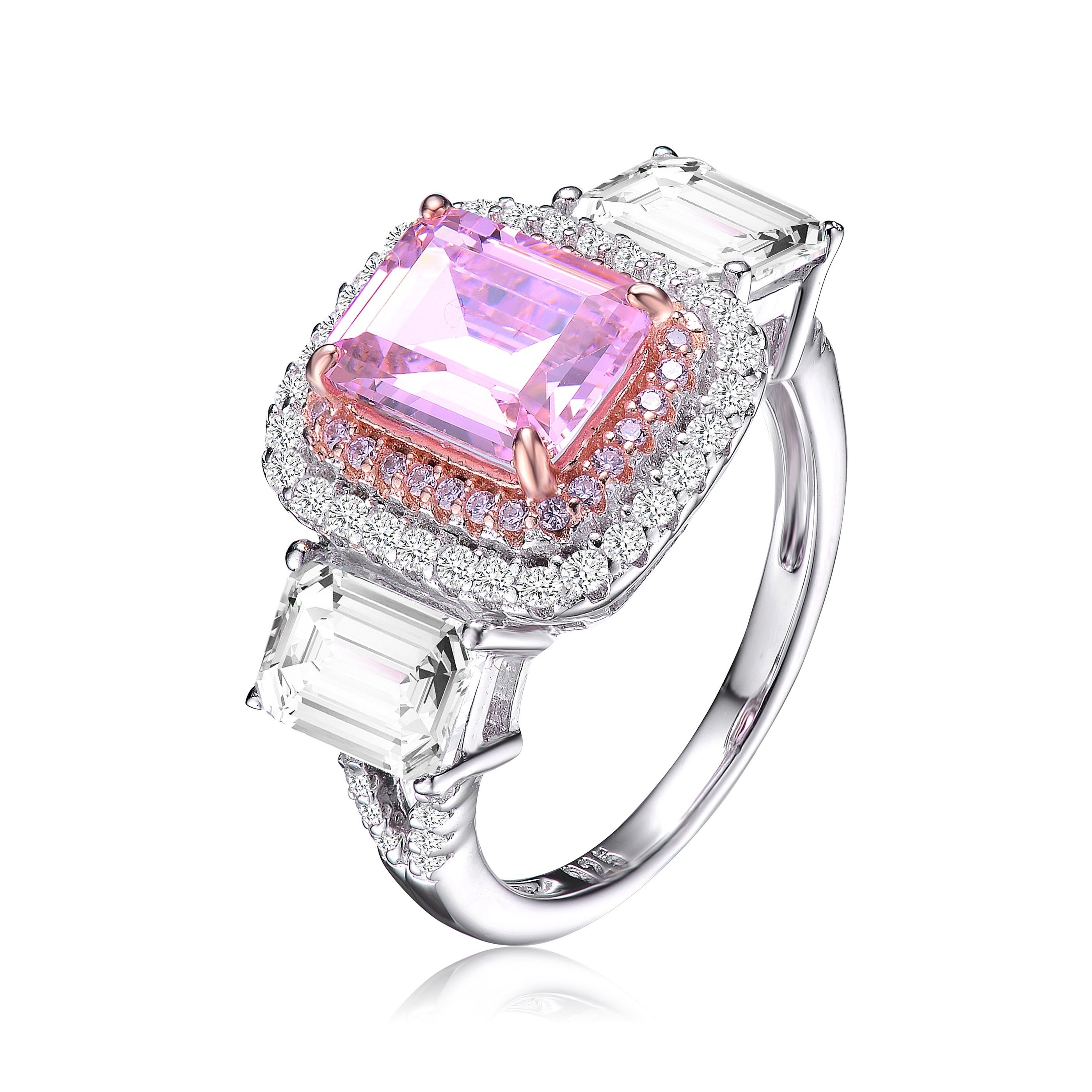 Collette Z Sterling Silver With Rhodium And Rose Gold Plated Pink And Clear Radiant Cubic Zirconias Haloed Three Stone Ring Regarding Newest Clear Three Stone Rings (View 17 of 25)