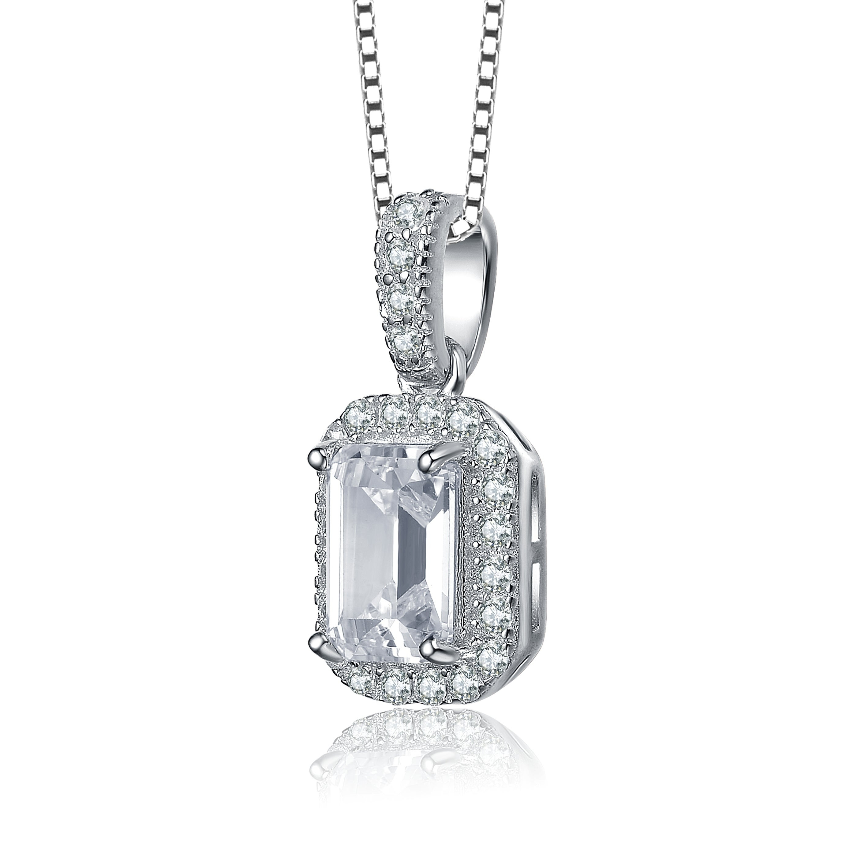 Collette Z Sterling Silver With Rhodium Plated Clear Emerald With Round Cubic Zirconia Halo Pendant Necklace In Most Popular Square Sparkle Halo Pendant Necklaces (View 18 of 25)
