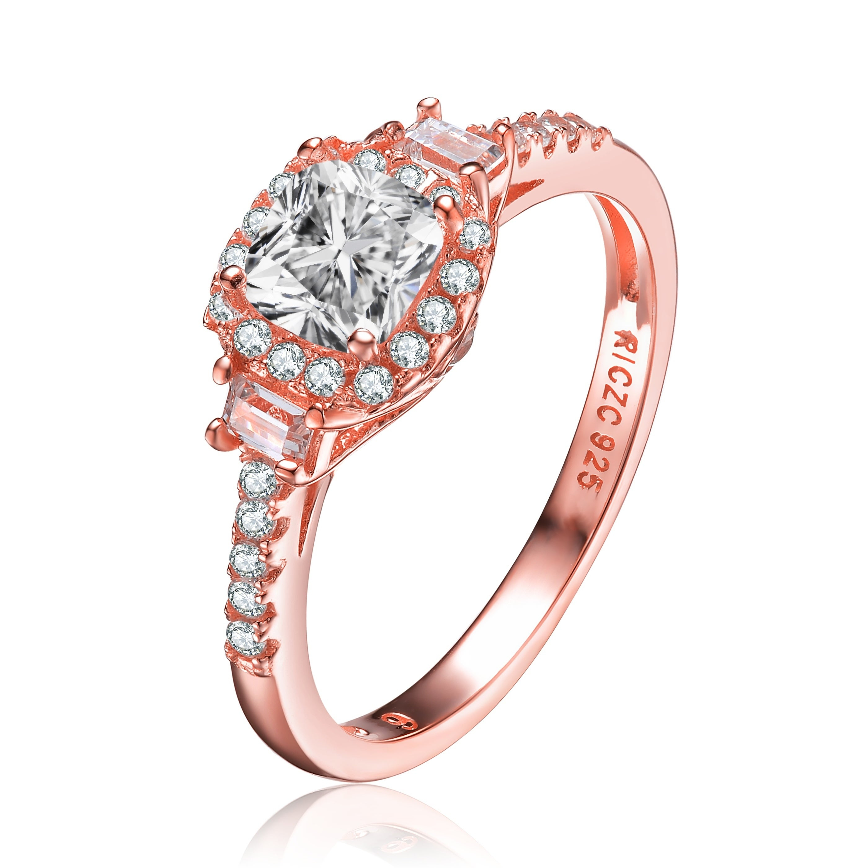 Collette Z Sterling Silver With Rose Gold Plated Clear Cushion And Emerald With Round Cubic Zirconia Accent Three Stone Ring Pertaining To Most Popular Clear Three Stone Rings (View 2 of 25)