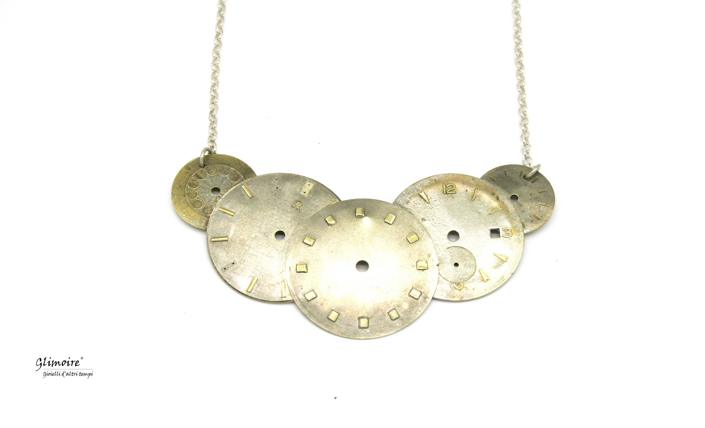 Collier Necklace With 5 Dials Of Vintage Watches With Sterling Silver Chain  925 Décolleté Vintageart. 54 Intended For 2019 Vintage Circle Collier Necklaces (Gallery 11 of 25)