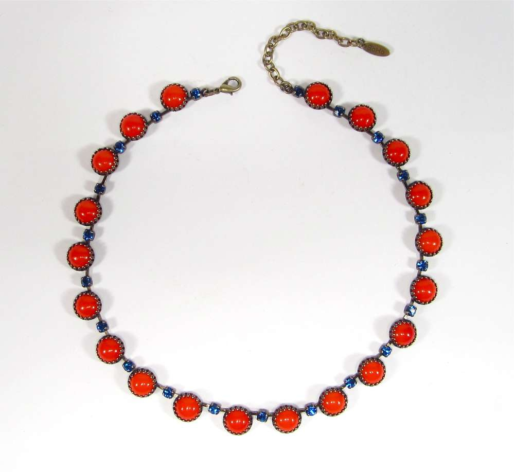 Collier Vintage 1960´s Coral Capri Blue For Latest Vintage Circle Collier Necklaces (View 9 of 25)
