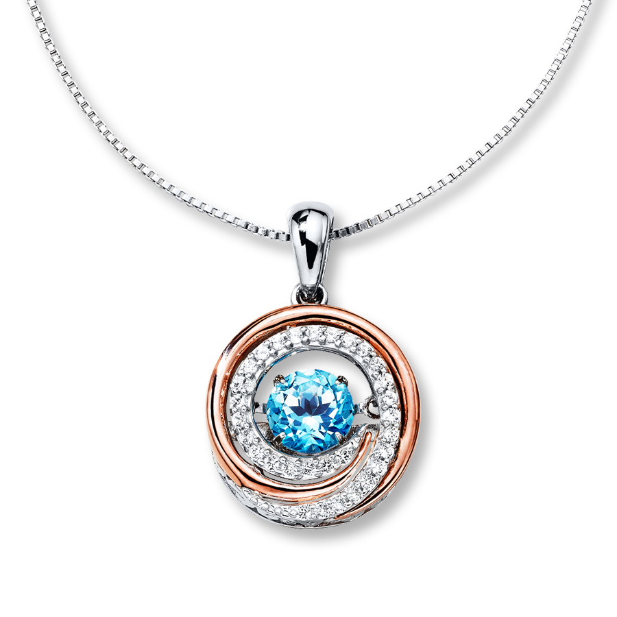 Colors In Rhythm Necklace Blue Topaz Sterling Silver/10K Gold With Most Recently Released London Blue December Birthstone Locket Element Necklaces (View 5 of 25)