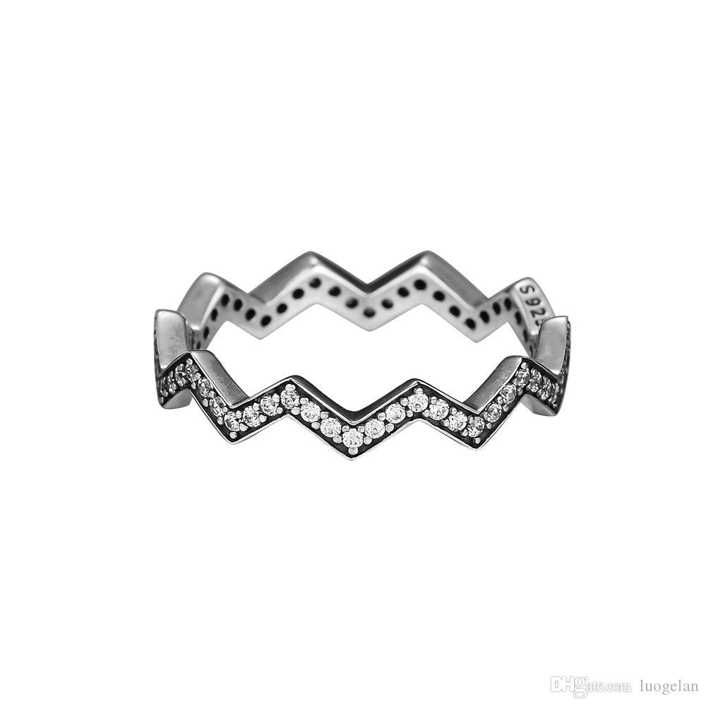 Compatible With Pandora Jewelry Ring Silver Shimmering Zigzag Rings With Cz100% 925 Sterling Silver Jewelry Wholesale Diy For Women With Most Popular Shimmering Zigzag Rings (View 15 of 25)