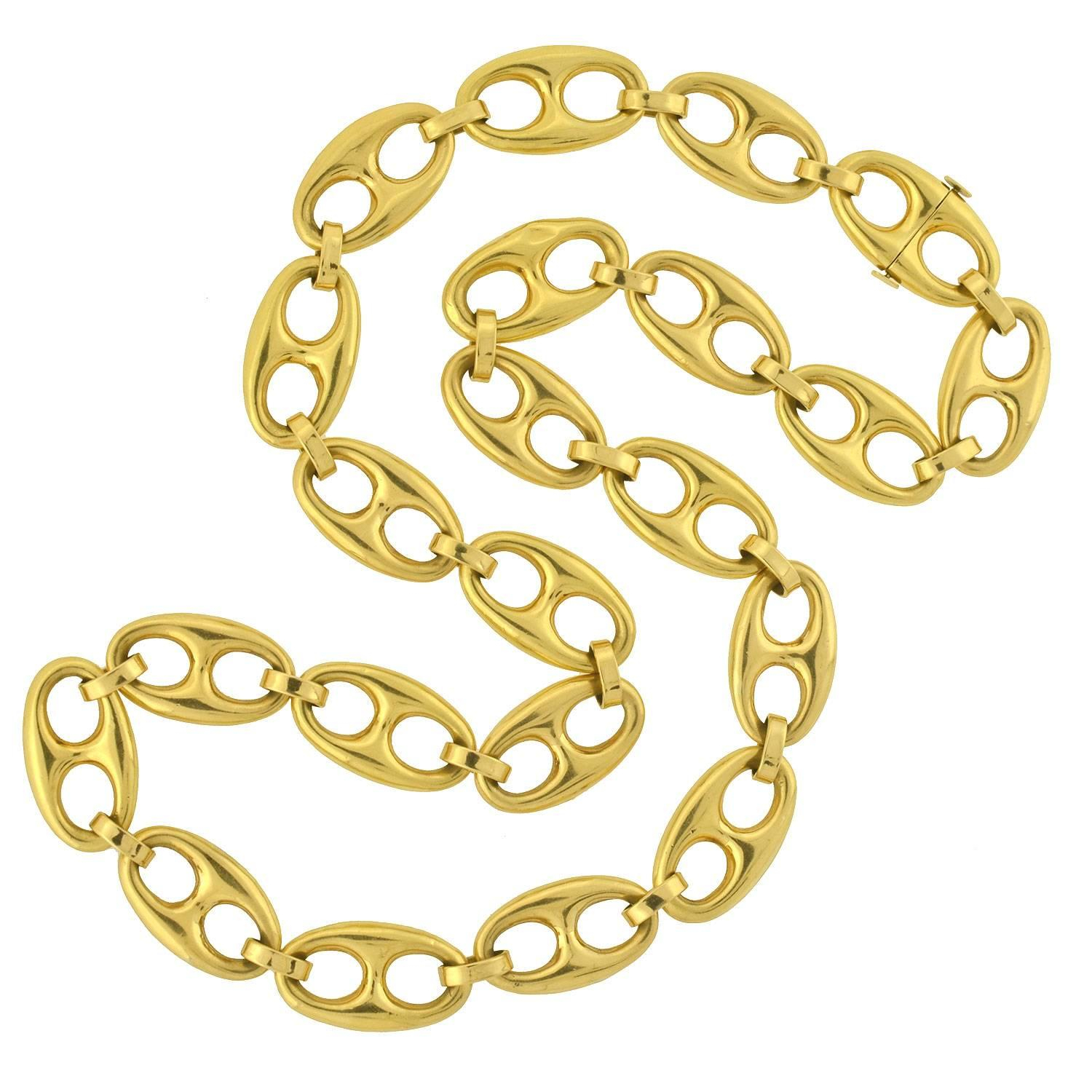 Contemporary Anchor Link Gold Chain Necklace In Most Popular Classic Anchor Chain Necklaces (View 11 of 25)