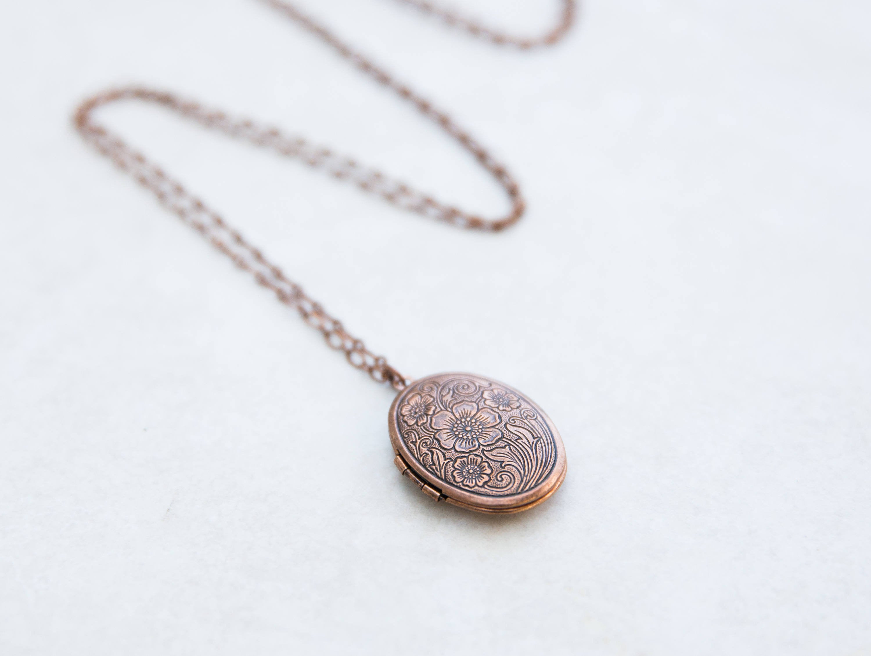Copper Photo Locket Necklace Floral Engraved, Choose Your Chain And Length In 2019 Classic Flower Locket Element Necklaces (Gallery 17 of 25)