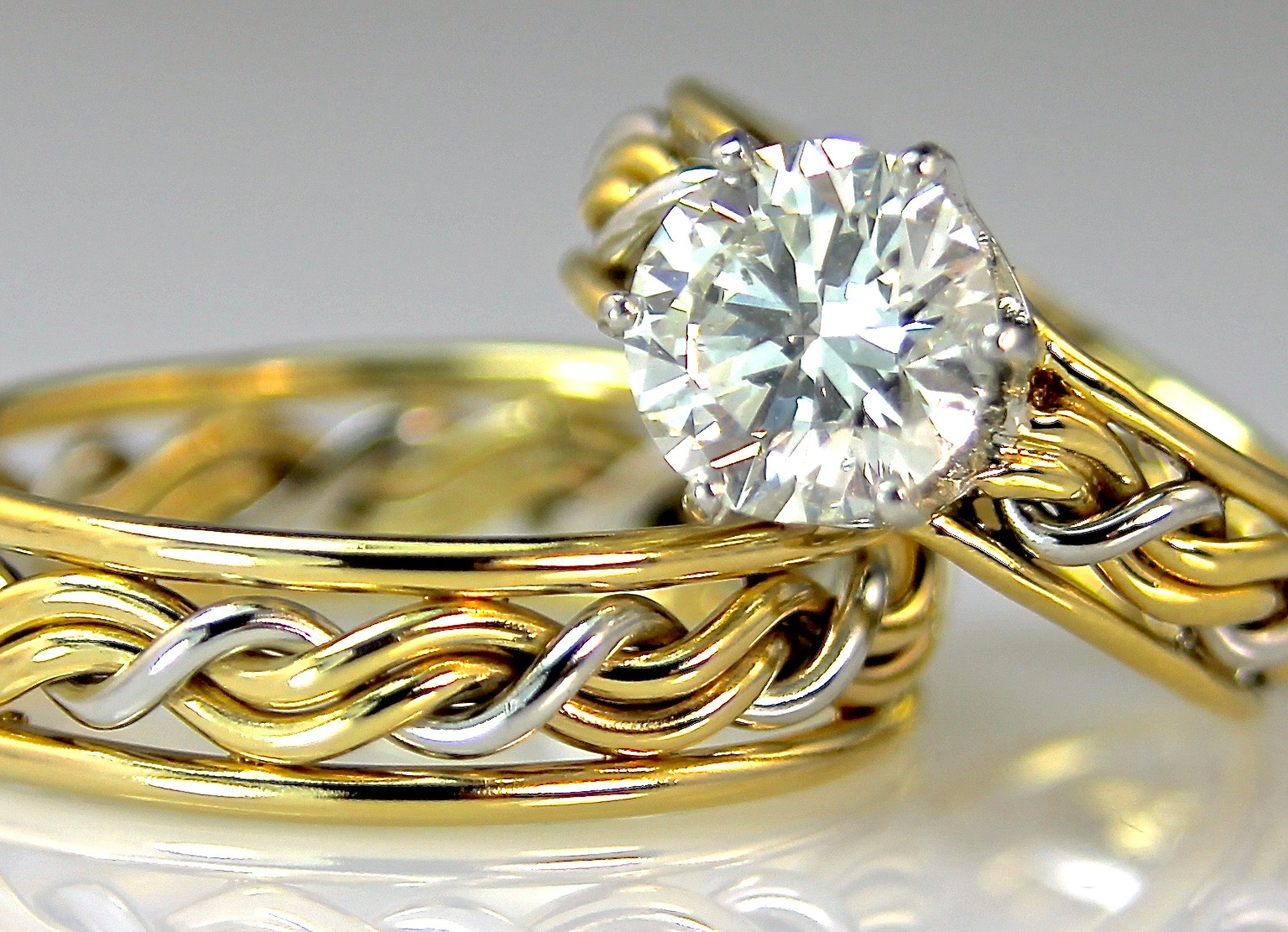 Cord Of Three Wedding Rings, Christian Wedding Bands Made Intended For Most Popular Diamond Braid Anniversary Bands In White Gold (Gallery 25 of 25)